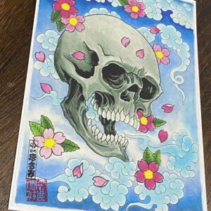 Skull and Sakura Print
