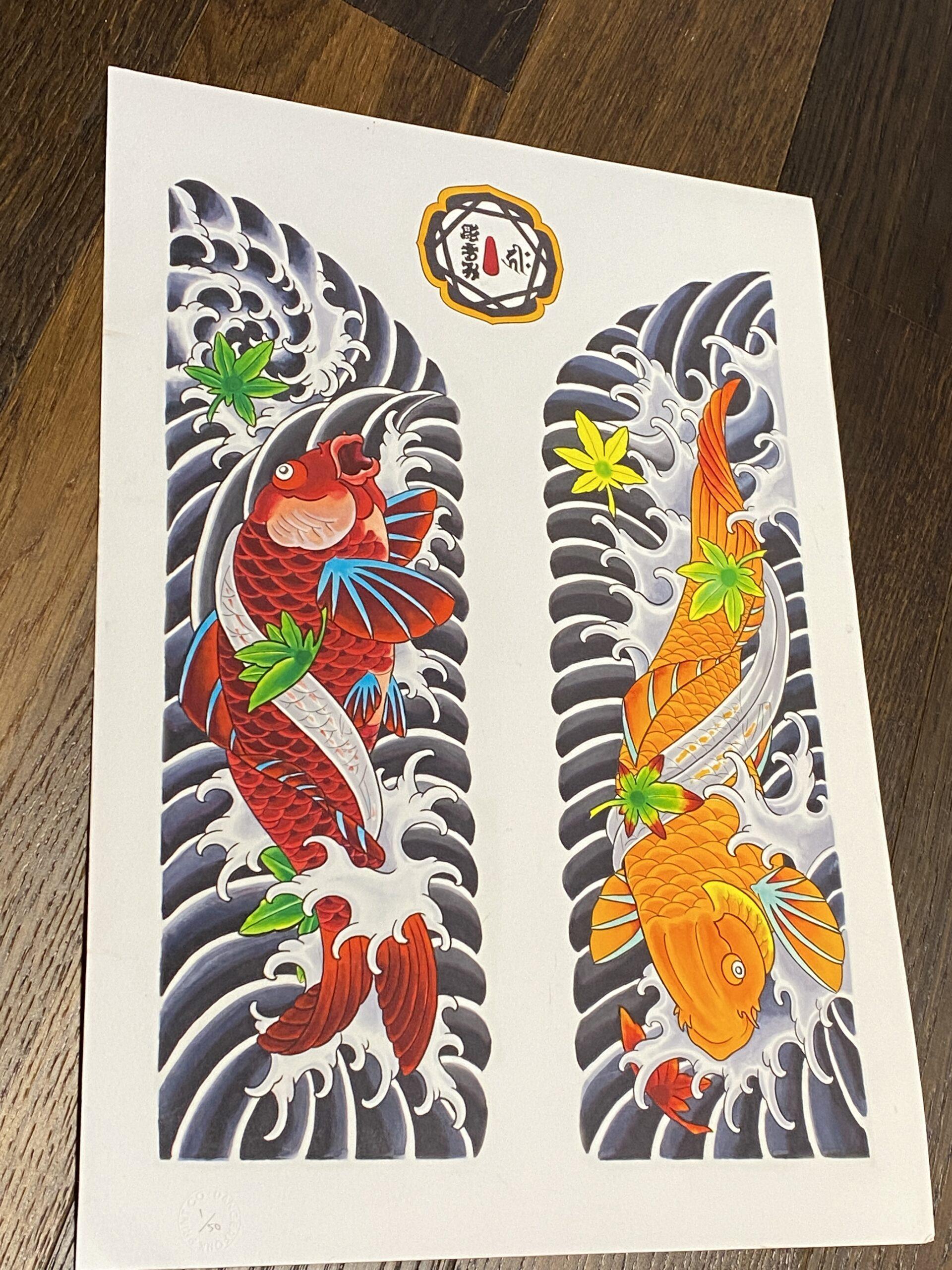 Double Koi Munewari Print